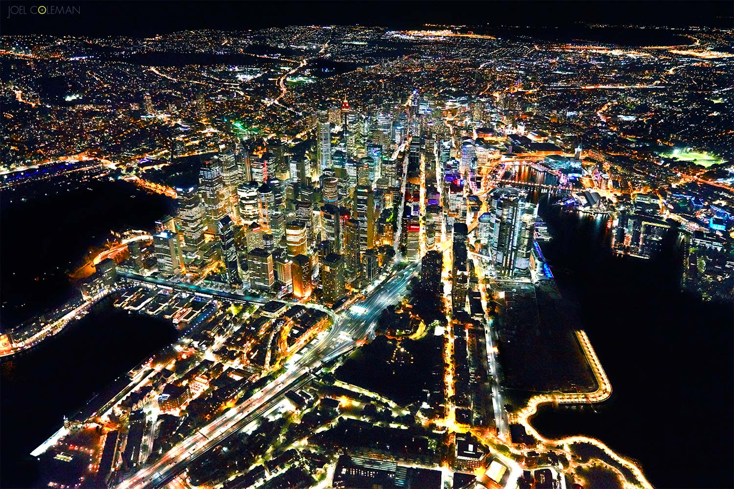 Sydney, Night, Aerial, Helicopter, Aerial Photograph,